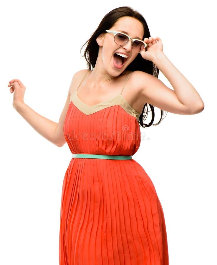 FASHION MODEL POSING isolated on white background. Fashion model posing smiling royalty free stock photography