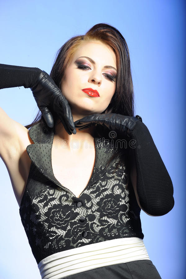 Fashion Woman With Red Lips In Black Dress Royalty Free Stock Images