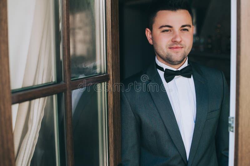 fashionable man in tuxedo indoor royalty free stock photos