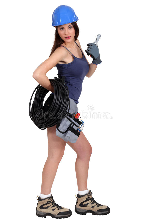 female electrician royalty free stock images