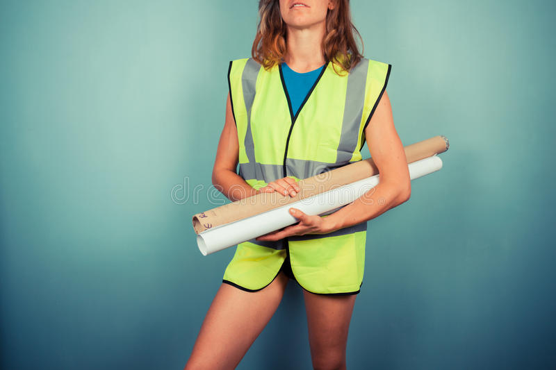 Female engineer with plans stock photo image of blueprint 44867482 download female engineer with plans stock photo image of blueprint 44867482 malvernweather Images