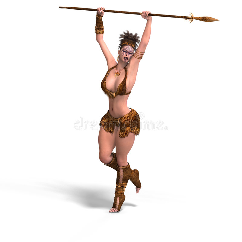 Female fantasy Barbarian. Fighter With Clipping Path vector illustration