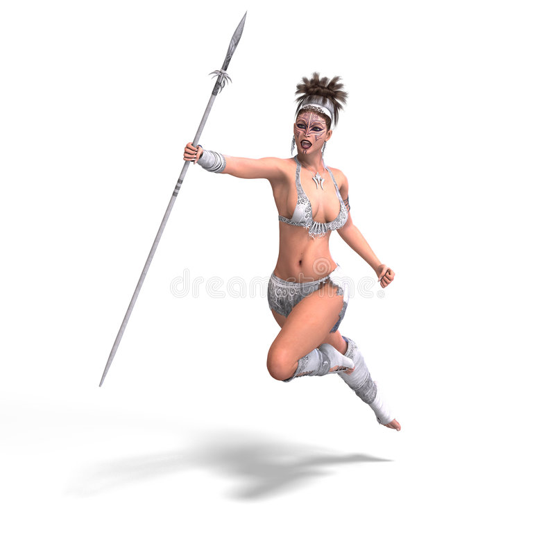 Female fantasy Barbarian. Fighter With Clipping Path stock illustration