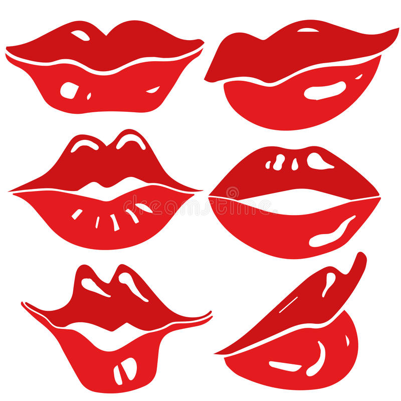 Female lips set - vector. Smiling lips vector icon set. Various expressions vector illustration