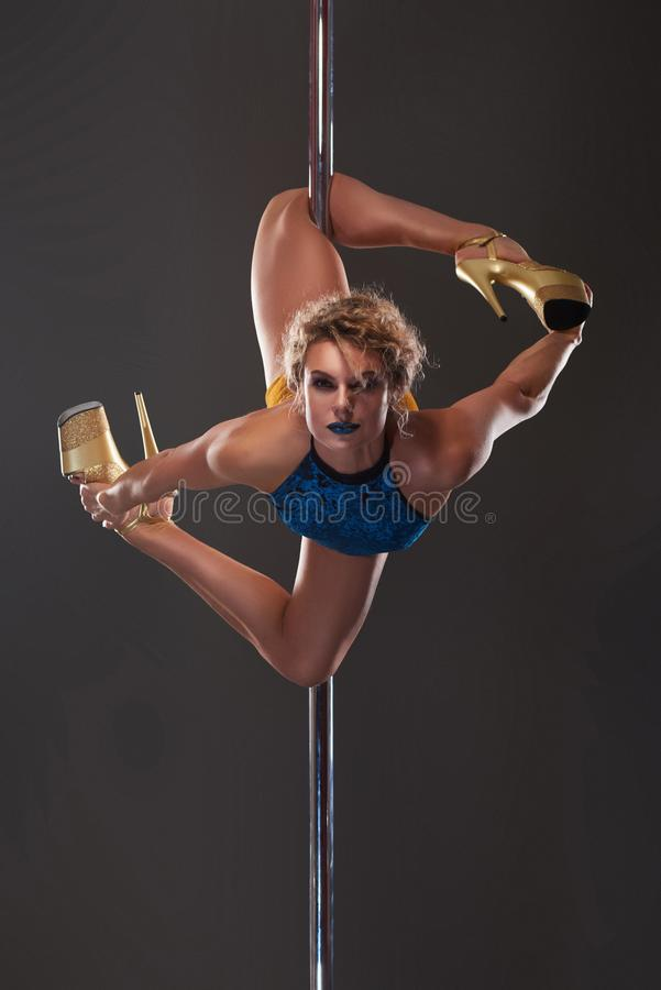 female pole dancer with stage look royalty free stock photo