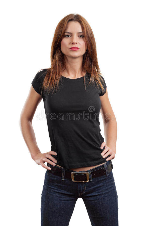 Download Female Posing With Blank Black Shirt Stock Photo - Image: 26036758