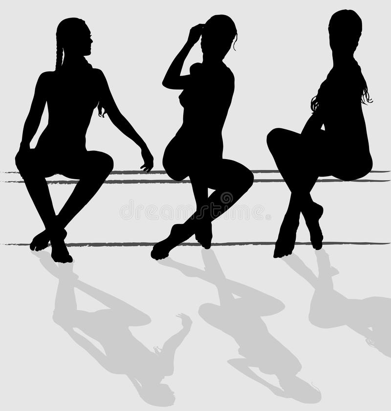 Female sitting. Three vector silhouettes of attractive young woman sitting