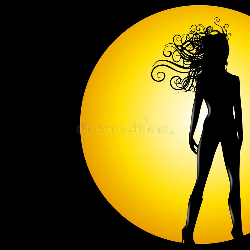 Female Super Hero. An illustration featuring a tall female silhouette lit from behind