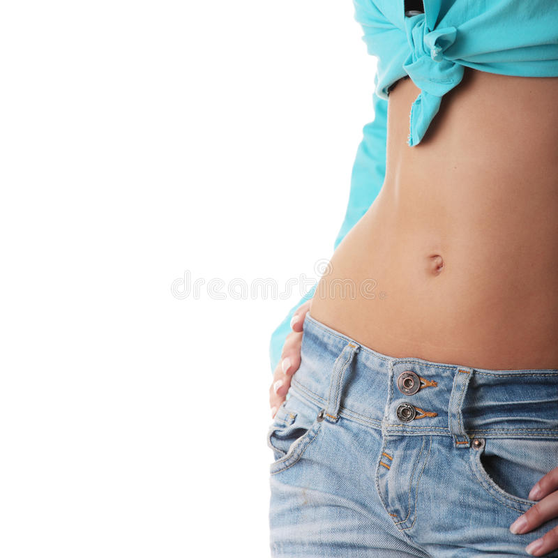 Free Sexy, Fit Woman In Jeans, With Naked Stomach Royalty Free Stock Photos - 10086838