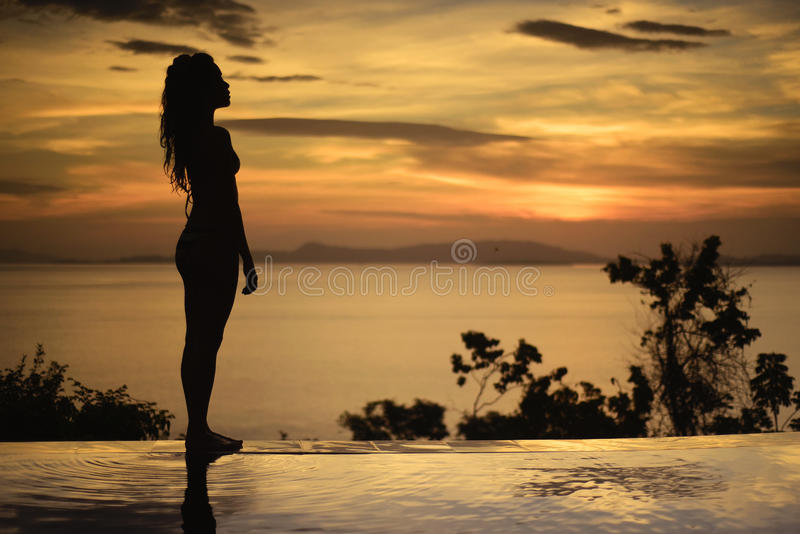 sexy frau im bikini sonnenuntergang schattenbild stockfoto bild von schattenbild ozean 89949082. Black Bedroom Furniture Sets. Home Design Ideas