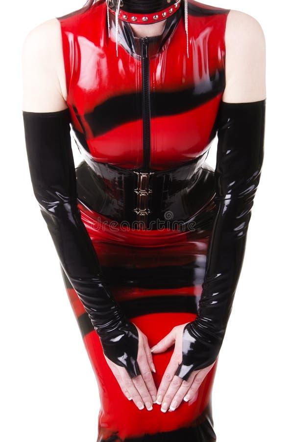 Sexy Frau im Latexkleid stockfoto