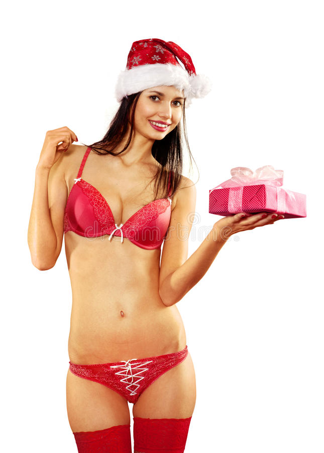 Sexy Frau mit Geschenk auf Weiß stockbild