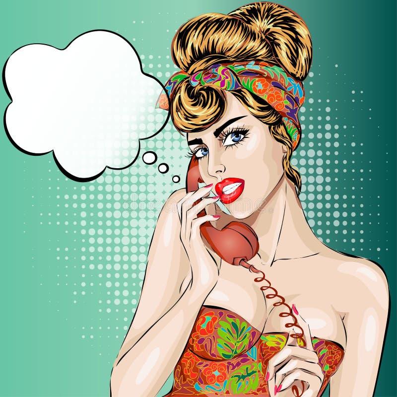 Sexy Frau Pin-oben beantwortet einen Telefonanruf Komische Retrostilillustration der Vektorpop-art stock abbildung