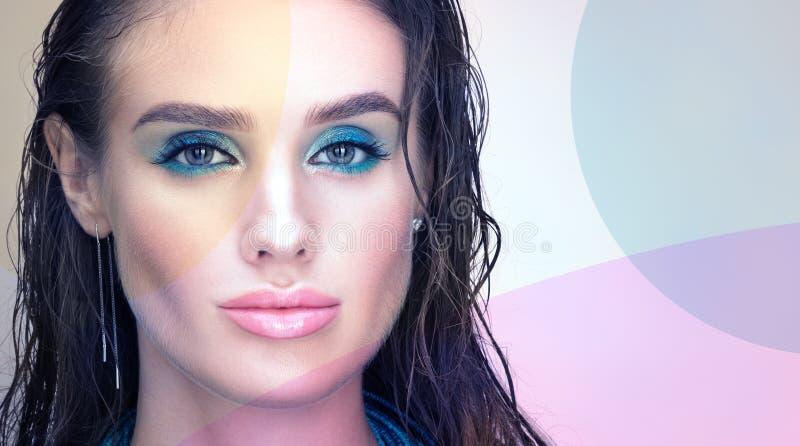 Sexy Frau Schöne junge Frau mit dem nassen Haar Professinal-Make-up stockfoto