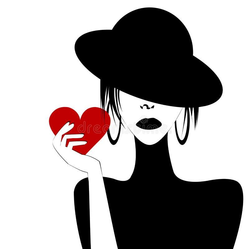 Sexy Frauenporträt, das ein Herz hält vektor abbildung