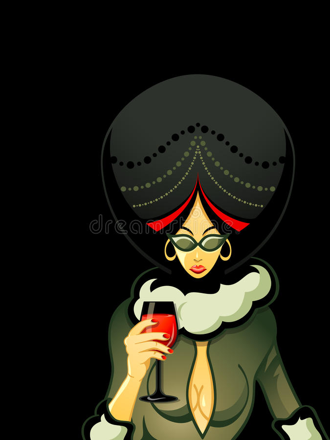 Gangster woman. With red wine glass vector illustration