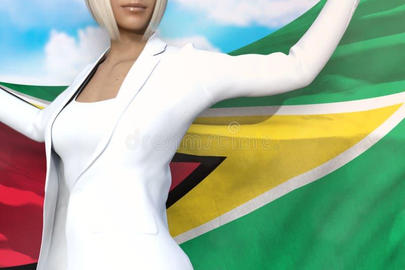 Sexy Geschäftsfrau hält Guyana-Flagge in den Händen hinter ihrer Rückseite auf dem Hintergrund des blauen Himmels - Illustration  lizenzfreie abbildung