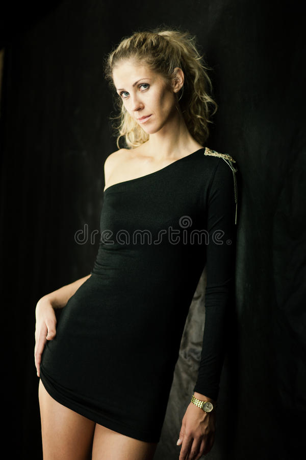 Download Girl in black dress stock image. Image of dress, adult - 25383101