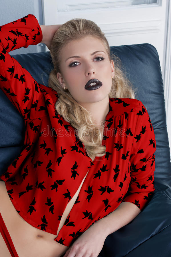 Download Girl black lipstick stock photo. Image of lady, gorgeous - 21725076