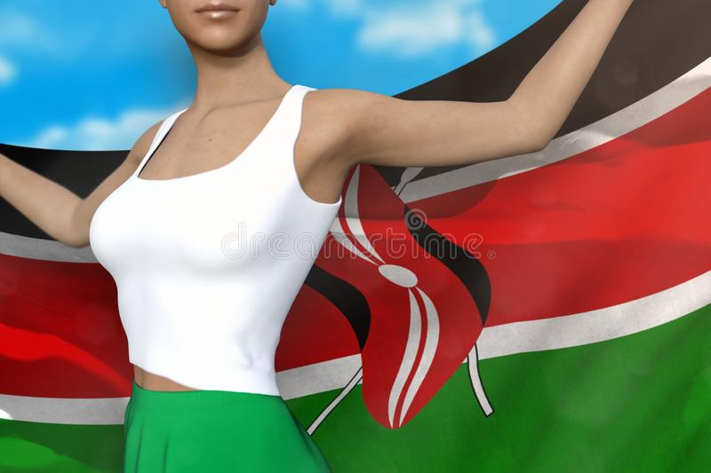Young girl in bright skirt holds Kenya flag in hands behind her back on the cloudy sky background - flag concept 3d illustration. Sexy girl in bright skirt is stock illustration