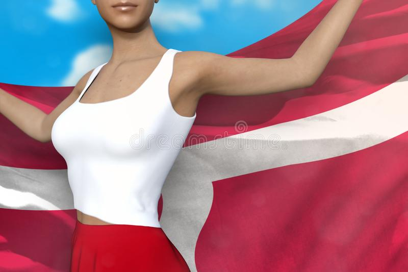 Sexy girl in bright skirt holds Denmark flag in hands behind her back on the cloudy sky background - flag concept 3d illustration. Sexy girl in bright skirt is vector illustration