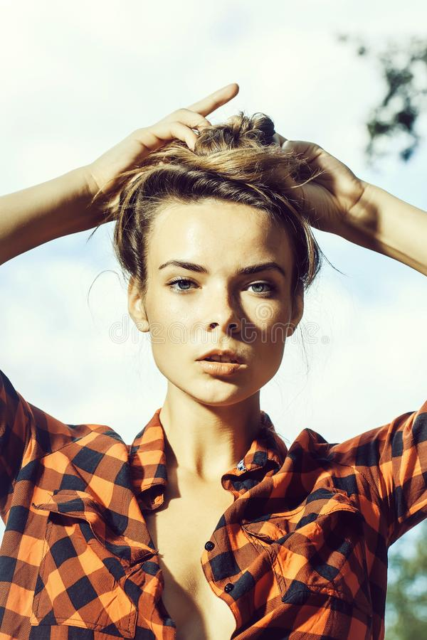 girl in checkered shirt royalty free stock image