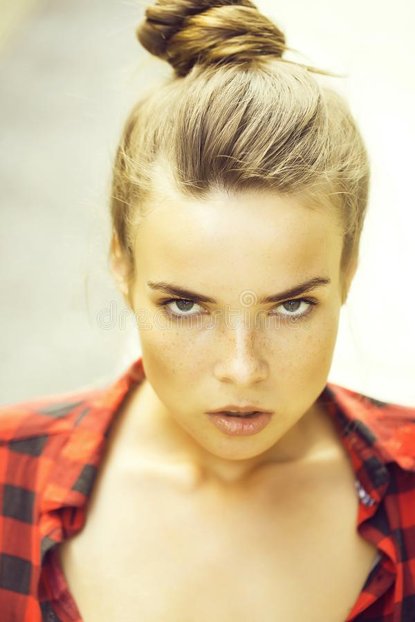 girl in checkered shirt royalty free stock images