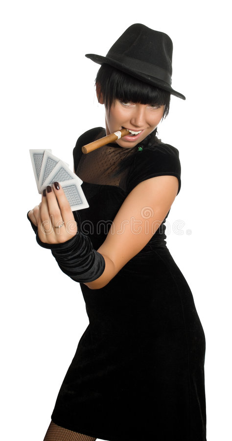 girl with cigar and cards stock images