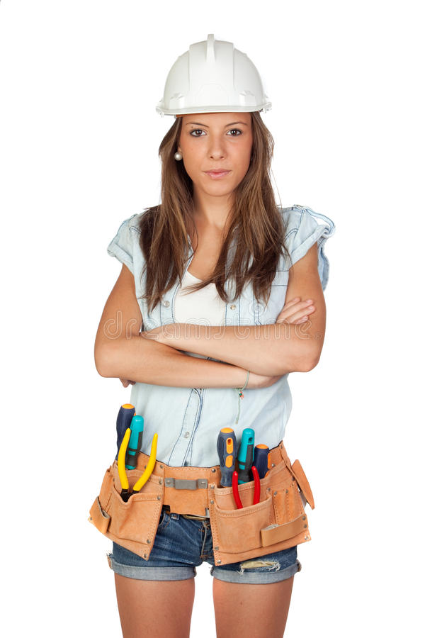 girl with construction tools stock photos
