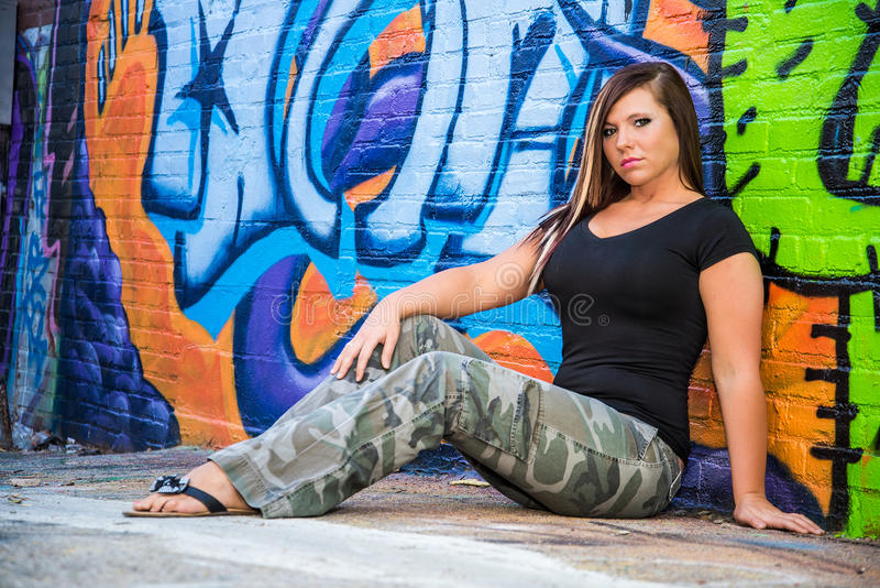 Hair Style Jeans: Girl Fashion Model With Brown Hair Stock Photo