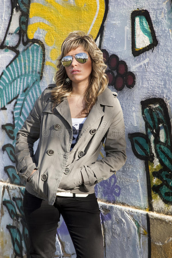 Download Girl in graffiti wall stock image. Image of arms, expression - 21491265