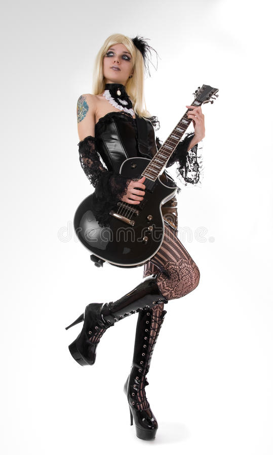 girl with guitar royalty free stock photography