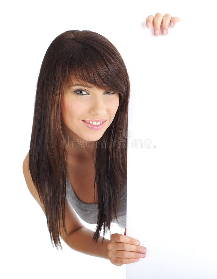 girl holding a blank board. stock photo
