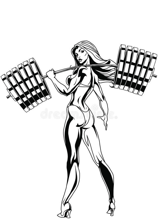 Girl. Holding a heavy barbell. isolated on a white. illustration