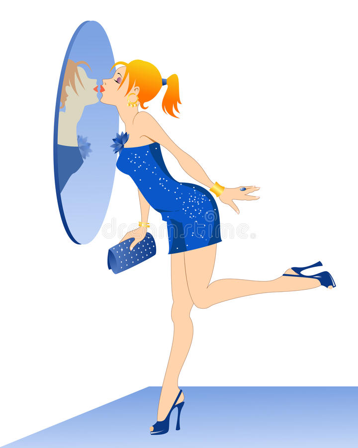 Girl kissing her reflection. Redhead dressed up girl in a blue sparkly cocktail dress and high-heel shoes kissing her reflection in the mirror on the wall royalty free stock image