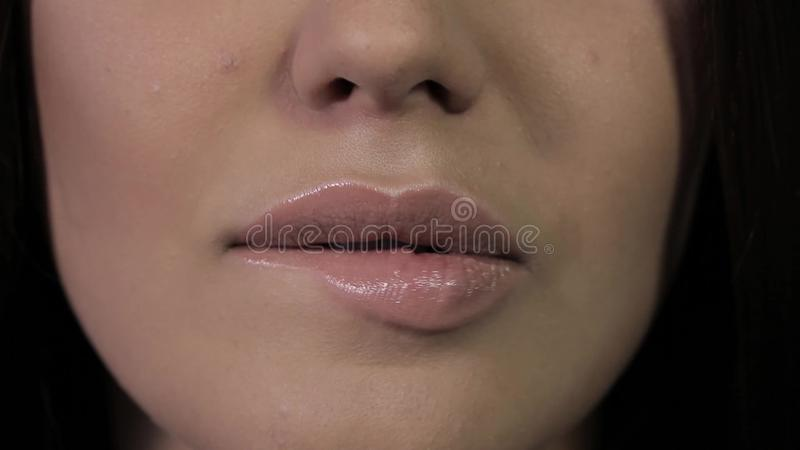 Girl Licking Lips With Tongue Piercing Stock Video Video Of Clean Macro