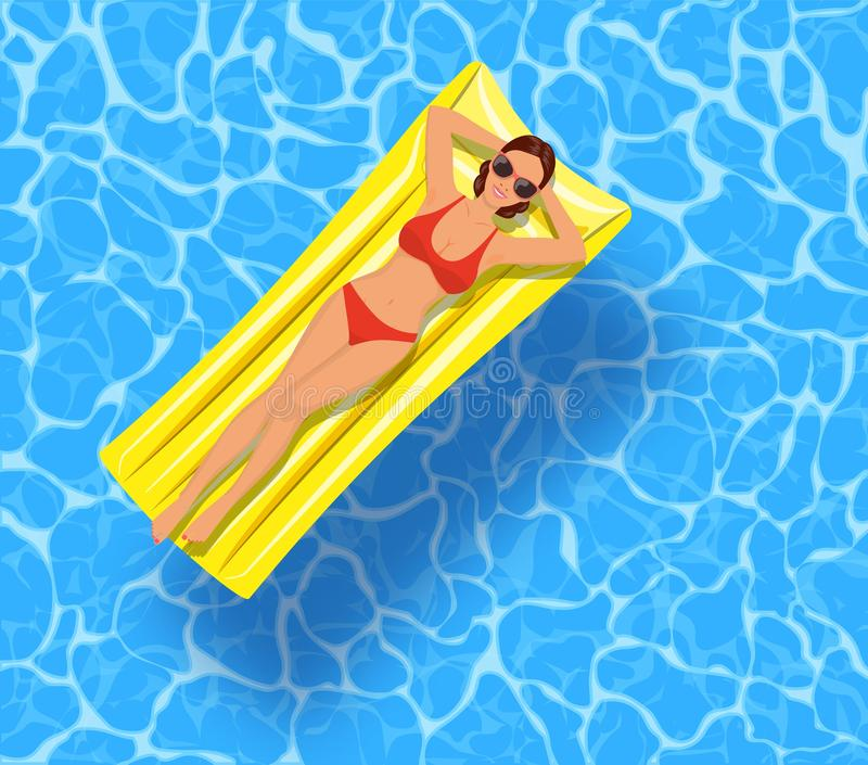 Sexy girl lying on mattress, over water vector illustration