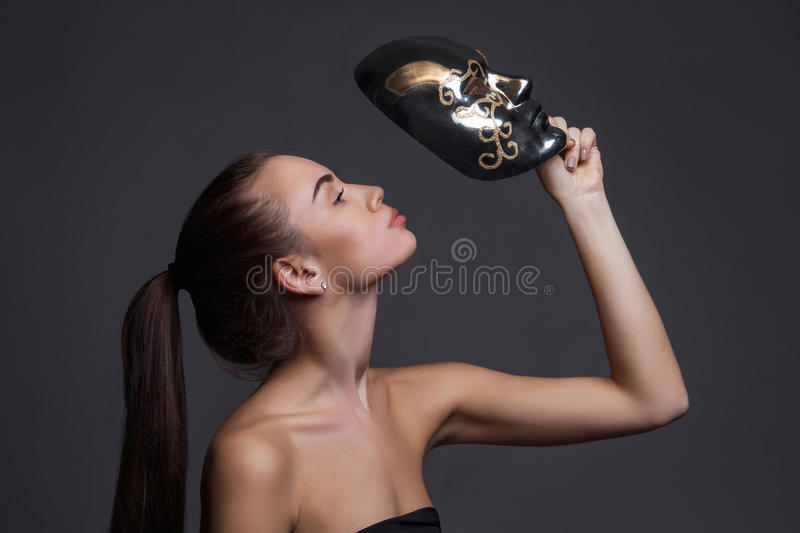 girl with mask stock images