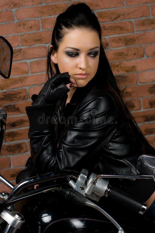 girl on motorbike stock photo
