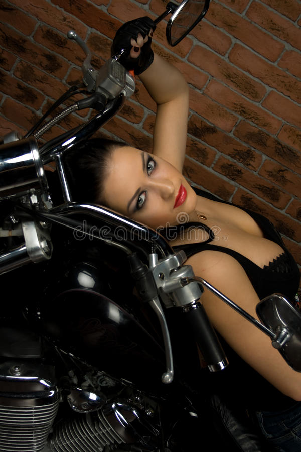 girl on motorbike royalty free stock image