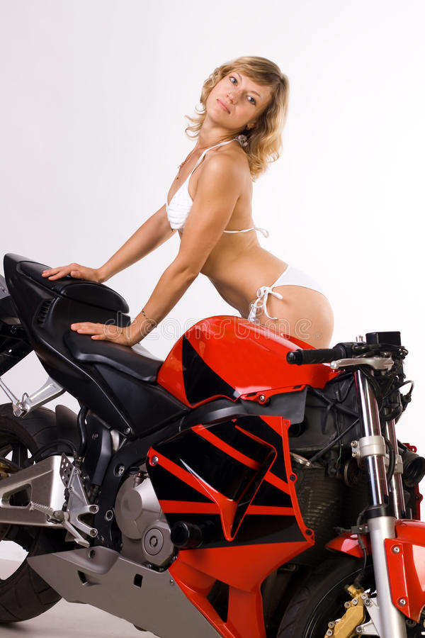 girl on motorbike stock image