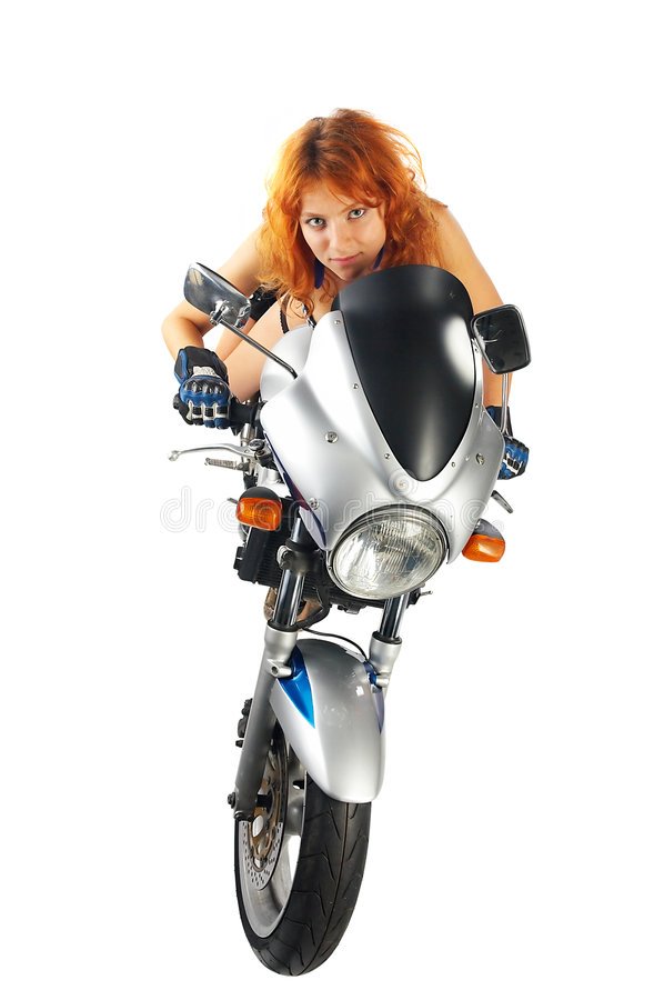 girl with motorcycle royalty free stock photos
