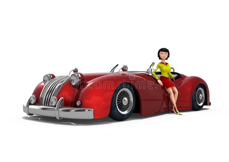 girl next to a vintage car stock photos