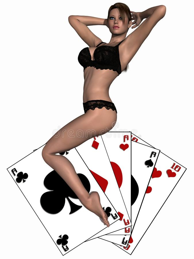 Download Girl playing with cards stock illustration. Image of beauty - 18640694