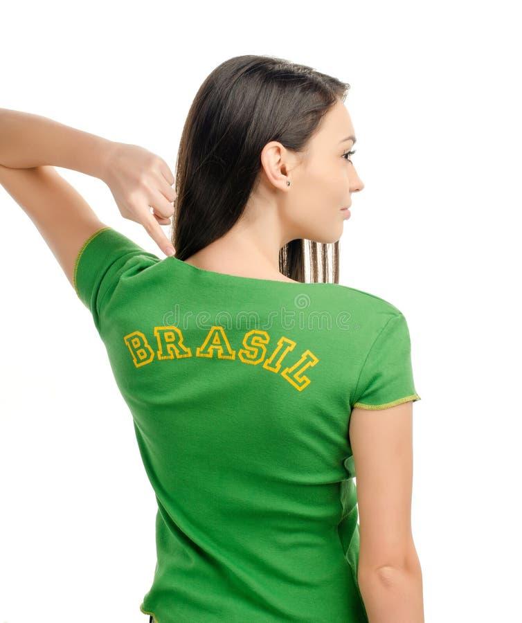 Girl Pointing Brasil. Royalty Free Stock Image