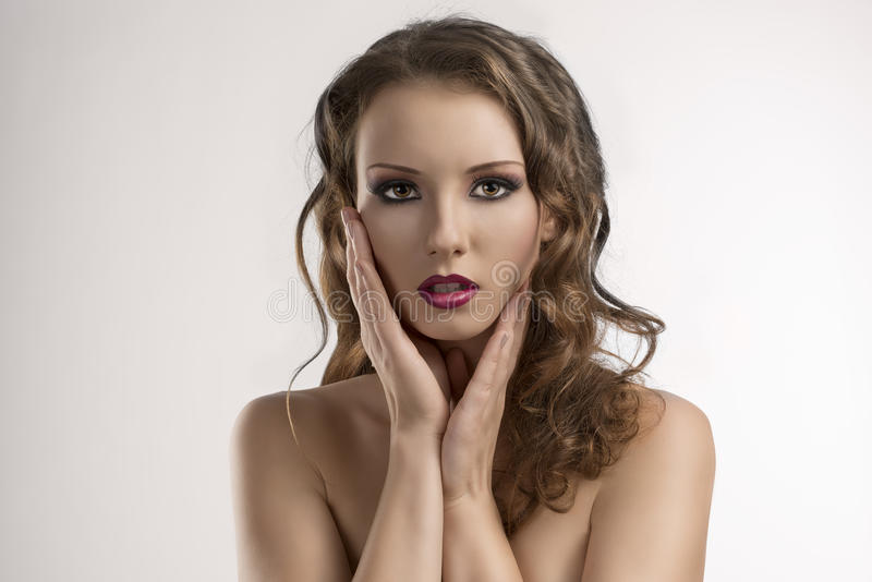 Download Girl With Purple Make-up And Hands Stock Image - Image: 27529171