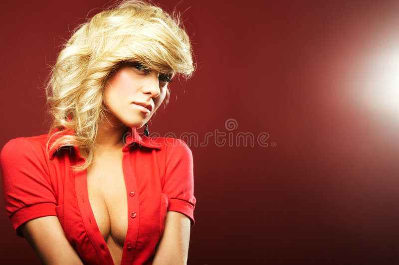 girl in red blouse stock photo