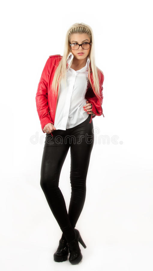 Download Girl In Red Leather Jacket Posing In Studio Stock Photo - Image: 25436174