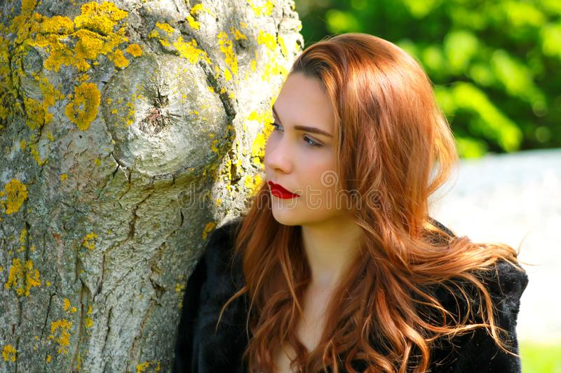 Sexy girl with a red lipstick leaning against a tree with the sun stock photos