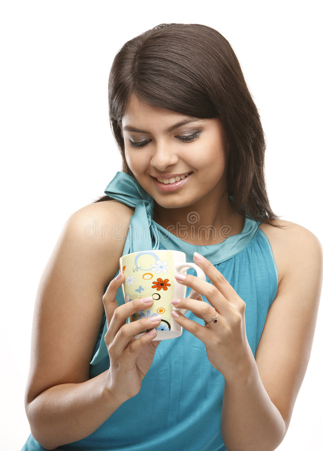 girl relaxing with the drink stock photos
